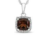 10k White Gold 6mm Cushion Garnet with White Topaz side stones Halo Pendant Necklace style: P10791G10KWCD