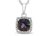 10kt White Gold 6mm Cushion Mystic Topaz with White Topaz accent stones Halo Pendant Necklace style: P10791MT10KW
