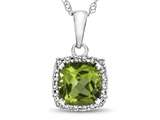 10kt White Gold Cushion Peridot with White Topaz accent stones Halo Pendant Necklace style: P10791P10KW