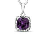 10kt White Gold Cushion Simulated Alexandrite with White Topaz accent stones Halo Pendant Necklace style: P10791SIMAL10KW