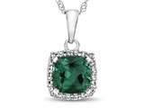 10kt White Gold Cushion Simulated Emerald with White Topaz accent stones Halo Pendant Necklace style: P10791SIME10KW