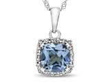 10k White Gold 6mm Cushion Swiss Blue Topaz with White Topaz accent stones Halo Pendant Necklace style: P10791SW10KW