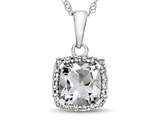 10kt White Gold Cushion White Topaz with White Topaz accent stones Halo Pendant Necklace style: P10791WT10KW