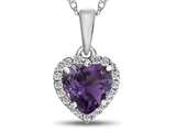 10kt White Gold 6mm Heart Shaped Amethyst with White Topaz accent stones Halo Pendant Necklace style: P1079200