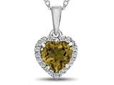 10kt White Gold 6mm Heart Shaped Citrine with White Topaz accent stones Halo Pendant Necklace style: P1079201
