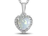 10kt White Gold 6mm Heart Shaped Created Opal with White Topaz accent stones Halo Pendant Necklace style: P1079202