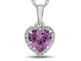 10kt White Gold 6mm Heart Shaped Created Pink Sapphire with White Topaz accent stones Halo Pendant Necklace style: P1079203