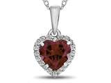 10kt White Gold 6mm Heart Shaped Created Ruby with White Topaz accent stones Halo Pendant Necklace style: P1079204
