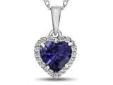 10kt White Gold 6mm Heart Shaped Created Sapphire with White Topaz accent stones Halo Pendant Necklace style: P1079205