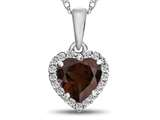 10kt White Gold 6mm Heart Shaped Garnet with White Topaz accent stones Halo Pendant Necklace style: P1079206