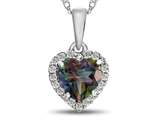 10kt White Gold 6mm Heart Shaped Mystic Topaz with White Topaz accent stones Halo Pendant Necklace style: P1079207