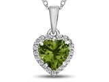 10kt White Gold 6mm Heart Shaped Peridot with White Topaz accent stones Halo Pendant Necklace style: P1079208