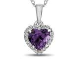 10kt White Gold 6mm Heart Shaped Simulated Alexandrite with White Topaz accent stones Halo Pendant Necklace style: P1079209
