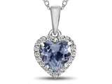 10kt White Gold 6mm Heart Shaped Simulated Aquamarine with White Topaz accent stones Halo Pendant Necklace style: P1079210