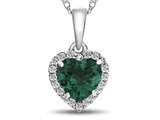 10kt White Gold 6mm Heart Shaped Simulated Emerald with White Topaz accent stones Halo Pendant Necklace style: P1079211