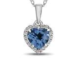 10kt White Gold 6mm Heart Shaped Swiss Blue Topaz with White Topaz accent stones Halo Pendant Necklace style: P1079212