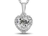 10kt White Gold 6mm Heart Shaped White Topaz with White Topaz accent stones Halo Pendant Necklace style: P1079213