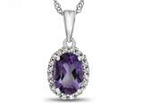 10kt White Gold Oval Amethyst with White Topaz accent stones Halo Pendant Necklace style: P10794A10KW