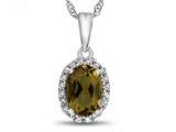 10kt White Gold Oval Citrine with White Topaz accent stones Halo Pendant Necklace style: P10794C10KW