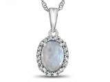 10k White Gold 7x5mm Oval Created Opal with White Topaz accent stones Halo Pendant Necklace style: P10794CRO10KW