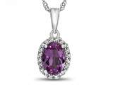 10kt White Gold 7x5mm Oval Created Pink Sapphire with White Topaz accent stones Halo Pendant Necklace style: P10794CRPS10KW