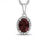 10kt White Gold 7x5mm Oval Created Ruby with White Topaz accent stones Halo Pendant Necklace style: P10794CRR10KW