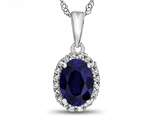 10kt White Gold Oval Created Sapphire with White Topaz accent stones Halo Pendant Necklace style: P10794CRS10KW