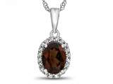 10kt White Gold 7x5mm Oval Garnet with White Topaz accent stones Halo Pendant Necklace style: P10794G10KW