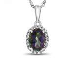 10kt White Gold Oval Mystic Topaz with White Topaz accent stones Halo Pendant Necklace style: P10794MT10KW