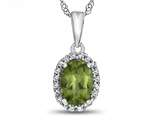 10kt White Gold 7x5mm Oval Peridot with White Topaz accent stones Halo Pendant Necklace style: P10794P10KW