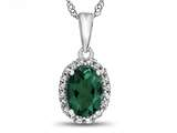 10kt White Gold Oval Simulated Emerald with White Topaz accent stones Halo Pendant Necklace style: P10794SIME10KW