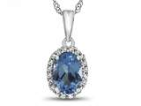 10kt White Gold 7x5mm Oval Swiss Blue Topaz with White Topaz accent stones Halo Pendant Necklace style: P10794SW10KW