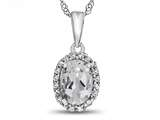 10kt White Gold Oval White Topaz with White Topaz accent stones Halo Pendant Necklace style: P10794WT10KW
