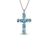 Finejewelers 6 Oval Sky Blue Topaz Cross Pendant Necklace - 18 Inch Chain Included style: P7076BT