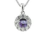 925 Sterling Silver 9.7mm Round Tanzanite and White Topaz Pendant Necklace style: P7083TW