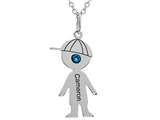 <b>Engravable</b> Finejewelers Boy Personalized Name Pendant Necklace with Simulated Birthstone 18 Inch Chain style: P8734