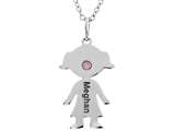 <b>Engravable</b> Finejewelers Girl Personalized Name Pendant Necklace with Simulated Birthstone 18 Inch Chain style: P8735