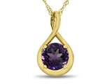 7mm Round Amethyst Twist Pendant Necklace style: P8806A10KY