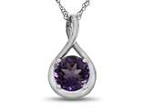 7mm Round Amethyst Twist Pendant Necklace style: P8806A