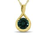 7mm Round Created Emerald Twist Pendant Necklace style: P8806CRE10KY