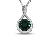 7mm Round Created Emerald Twisted Pendant Necklace style: P8806CRE