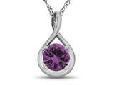 7mm Round Created Pink Sapphire Twist Pendant Necklace style: P8806CRPS