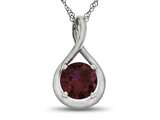 7mm Round Created Ruby Twist Pendant Necklace style: P8806CRR10KW