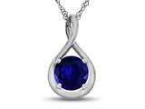 7mm Round Created Sapphire Twist Pendant Necklace style: P8806CRS10KW