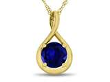 7mm Round Created Sapphire Twist Pendant Necklace style: P8806CRS10KY