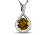 7mm Round Citrine Twist Pendant Necklace style: P8806C