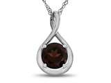 7mm Round Garnet Twisted Pendant Necklace style: P8806G