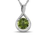 7mm Round Peridot Twisted Pendant Necklace style: P8806P