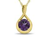 7mm Round Simulated Alexandrite Twist Pendant Necklace - Chain Included style: P8806SIMAL10KY