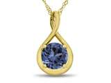 7mm Round Simulated Aquamarine Twist Pendant Necklace style: P8806SIMAQ10KY